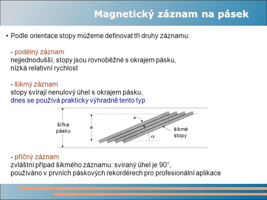 Magnetický záznam na pásek Podle orientace stopy můžeme definovat tři druhy záznamu: - podélný záznam nejjednodušší, stopy jsou rovnoběžné s okrajem p