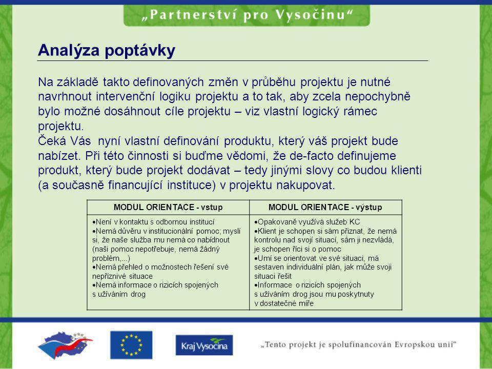 Analýza poptávky Na základě takto definovaných změn v průběhu projektu je nutné navrhnout intervenční logiku projektu a to tak, aby zcela nepochybně b