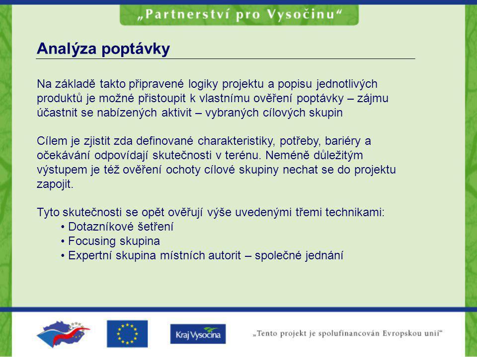 Analýza poptávky Na základě takto připravené logiky projektu a popisu jednotlivých produktů je možné přistoupit k vlastnímu ověření poptávky – zájmu ú