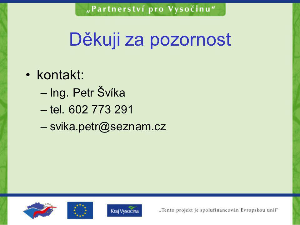 Děkuji za pozornost kontakt: –Ing. Petr Švíka –tel. 602 773 291 –svika.petr@seznam.cz