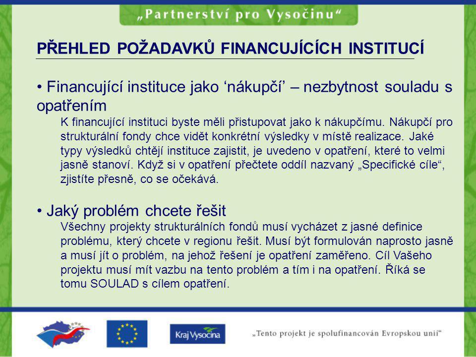 PŘEHLED POŽADAVKŮ FINANCUJÍCÍCH INSTITUCÍ Financující instituce jako 'nákupčí' – nezbytnost souladu s opatřením K financující instituci byste měli při