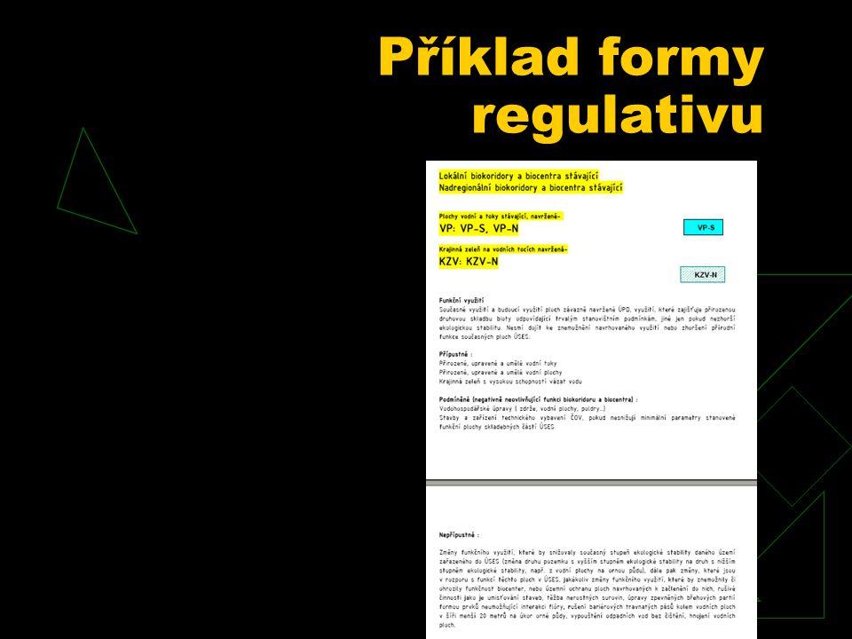 Příklad formy regulativu
