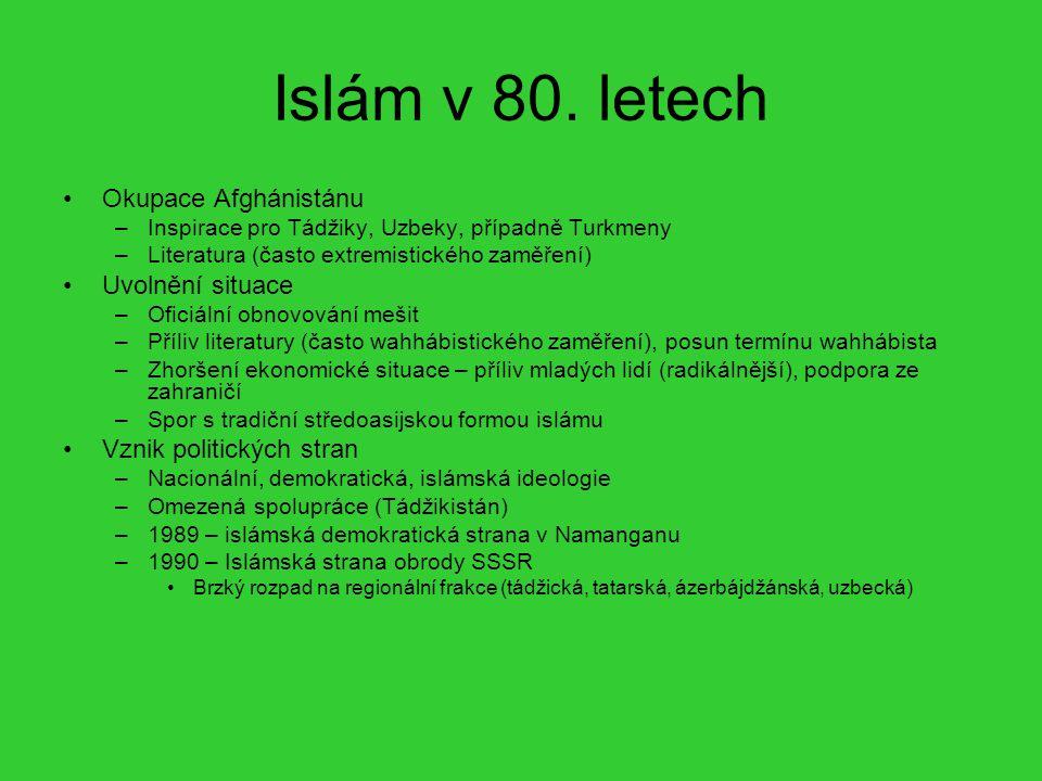 Islám v 80. letech Okupace Afghánistánu –Inspirace pro Tádžiky, Uzbeky, případně Turkmeny –Literatura (často extremistického zaměření) Uvolnění situac