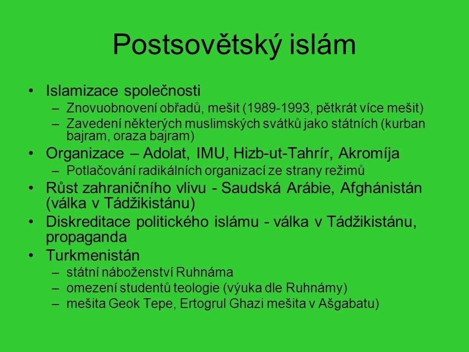 Postsovětský islám Islamizace společnosti –Znovuobnovení obřadů, mešit (1989-1993, pětkrát více mešit) –Zavedení některých muslimských svátků jako stá