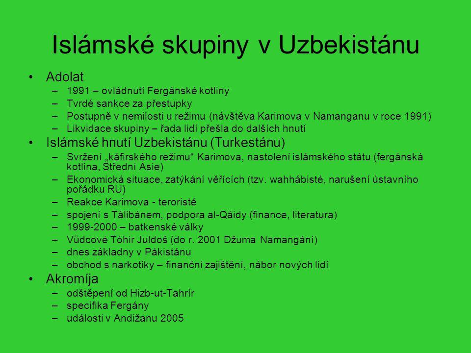 Islámské skupiny v Uzbekistánu Adolat –1991 – ovládnutí Fergánské kotliny –Tvrdé sankce za přestupky –Postupně v nemilosti u režimu (návštěva Karimova