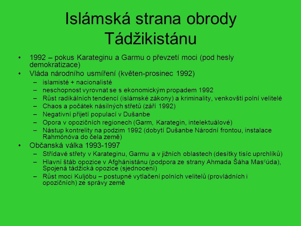 Islámská strana obrody Tádžikistánu 1992 – pokus Karateginu a Garmu o převzetí moci (pod hesly demokratizace) Vláda národního usmíření (květen-prosine