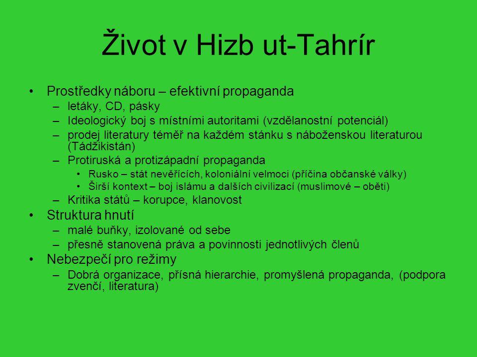 Život v Hizb ut-Tahrír Prostředky náboru – efektivní propaganda –letáky, CD, pásky –Ideologický boj s místními autoritami (vzdělanostní potenciál) –pr
