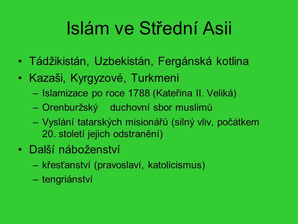 Islám ve Střední Asii Tádžikistán, Uzbekistán, Fergánská kotlina Kazaši, Kyrgyzové, Turkmeni –Islamizace po roce 1788 (Kateřina II. Veliká) –Orenburžs