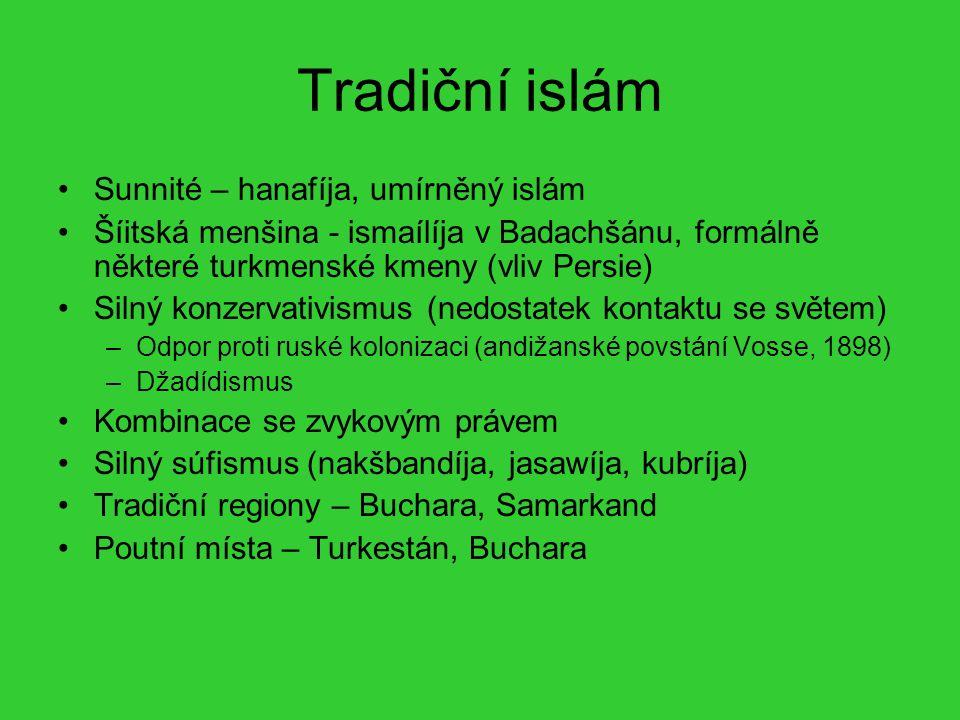 Tradiční islám Sunnité – hanafíja, umírněný islám Šíitská menšina - ismaílíja v Badachšánu, formálně některé turkmenské kmeny (vliv Persie) Silný konz