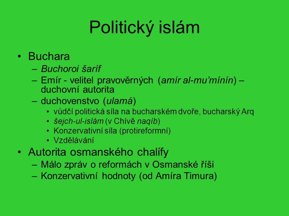 Politický islám Buchara –Buchoroi šaríf –Emír - velitel pravověrných (amír al-mu'mínín) – duchovní autorita –duchovenstvo (ulamá) vůdčí politická síla
