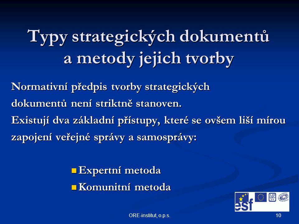 10ORE-institut, o.p.s. Typy strategických dokumentů a metody jejich tvorby Normativní předpis tvorby strategických dokumentů není striktně stanoven. E