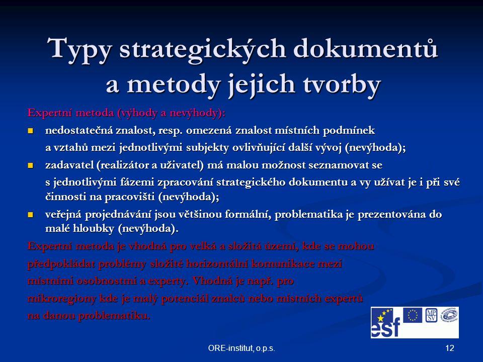 12ORE-institut, o.p.s. Typy strategických dokumentů a metody jejich tvorby Expertní metoda (výhody a nevýhody): nedostatečná znalost, resp. omezená zn