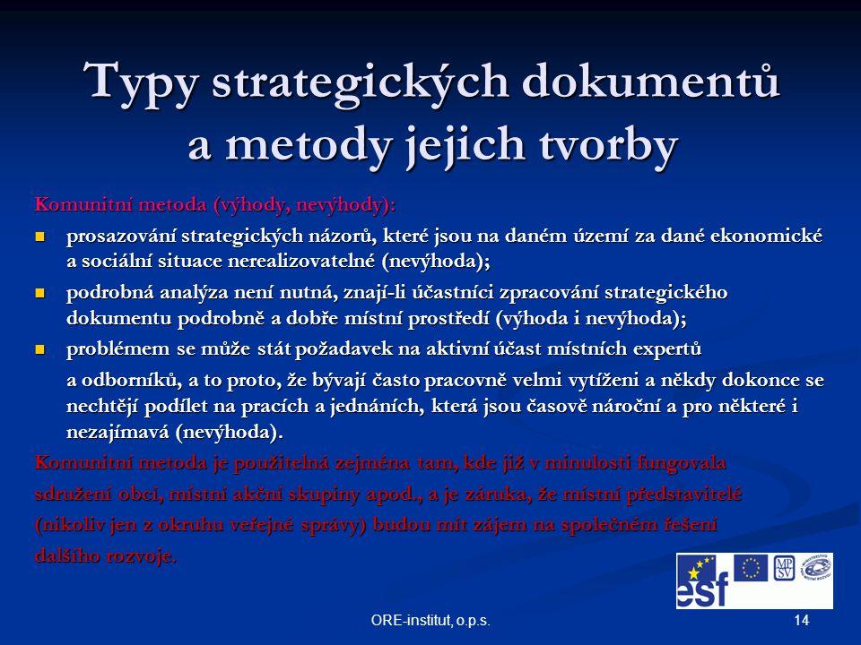 14ORE-institut, o.p.s. Typy strategických dokumentů a metody jejich tvorby Komunitní metoda (výhody, nevýhody): prosazování strategických názorů, kter