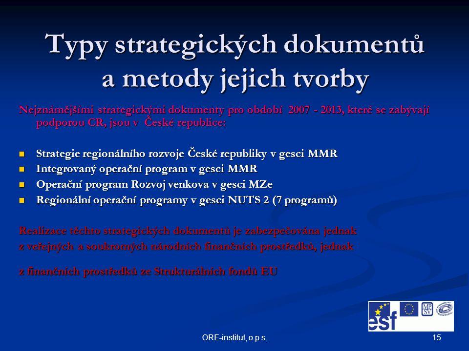 15ORE-institut, o.p.s. Typy strategických dokumentů a metody jejich tvorby Nejznámějšími strategickými dokumenty pro období 2007 - 2013, které se zabý