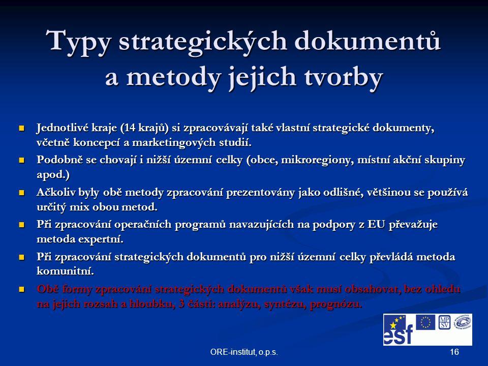 16ORE-institut, o.p.s. Typy strategických dokumentů a metody jejich tvorby Jednotlivé kraje (14 krajů) si zpracovávají také vlastní strategické dokume