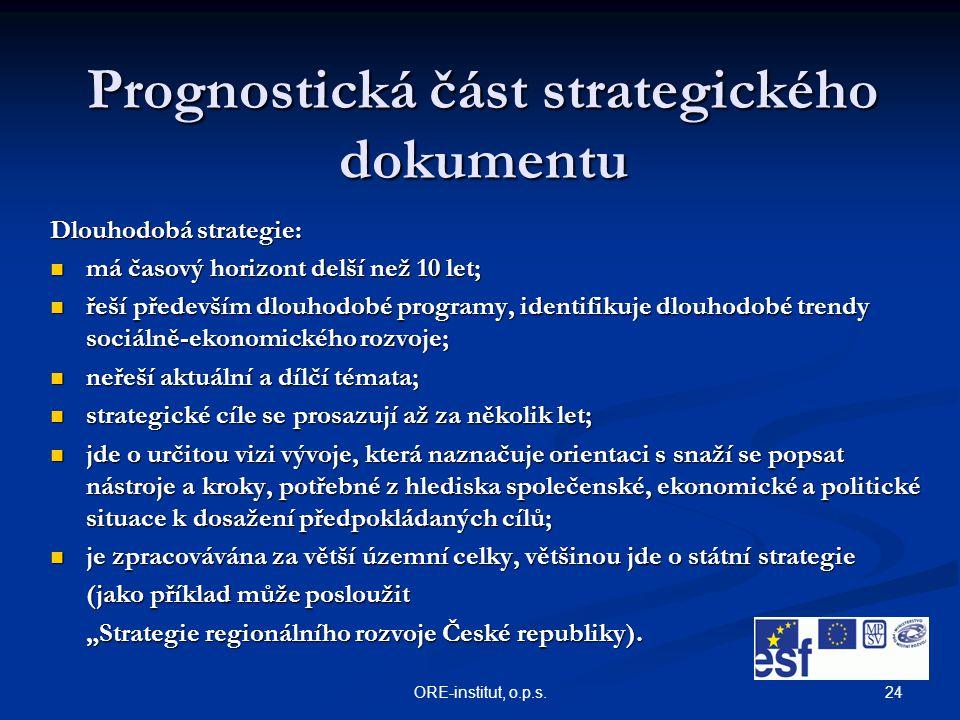 24ORE-institut, o.p.s. Prognostická část strategického dokumentu Dlouhodobá strategie: má časový horizont delší než 10 let; má časový horizont delší n
