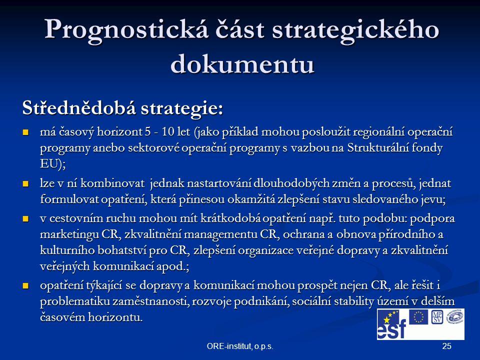 25ORE-institut, o.p.s. Prognostická část strategického dokumentu Střednědobá strategie: má časový horizont 5 - 10 let (jako příklad mohou posloužit re
