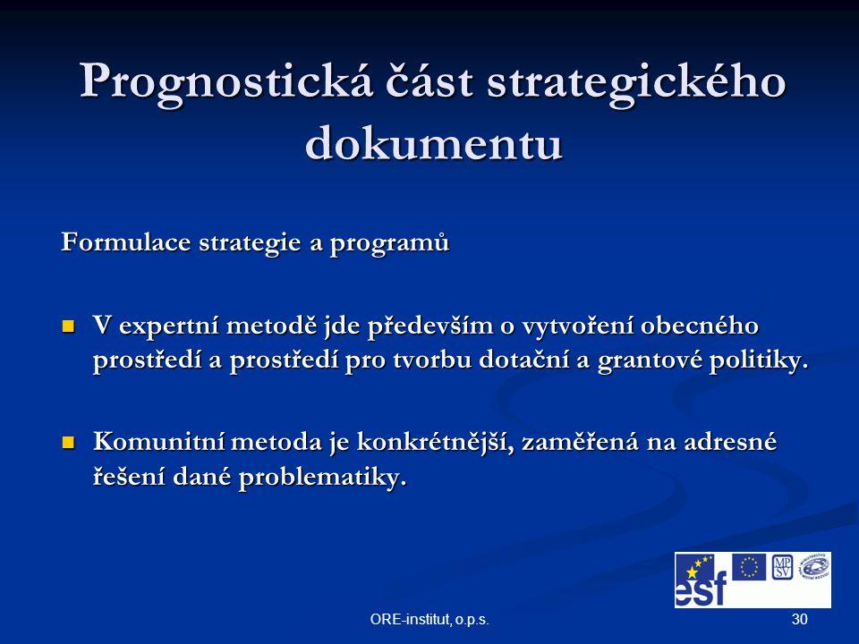 30ORE-institut, o.p.s. Prognostická část strategického dokumentu Formulace strategie a programů V expertní metodě jde především o vytvoření obecného p