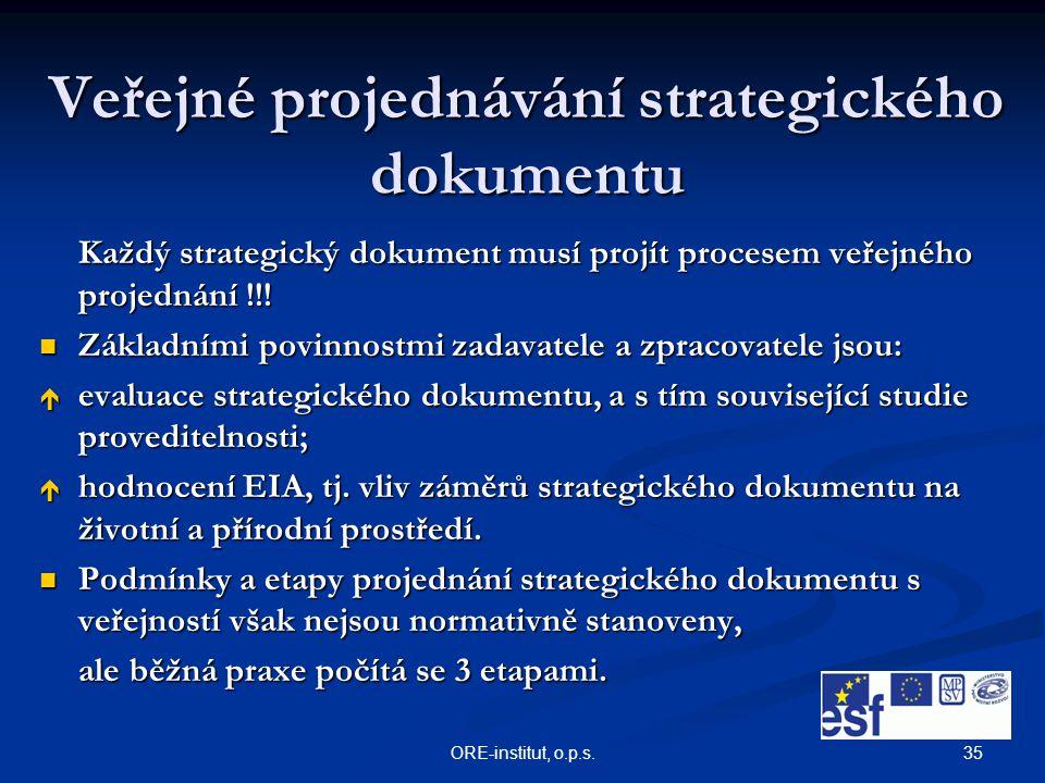 35ORE-institut, o.p.s. Veřejné projednávání strategického dokumentu Každý strategický dokument musí projít procesem veřejného projednání !!! Základním