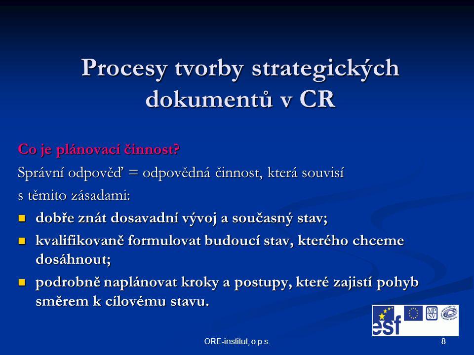 8 Procesy tvorby strategických dokumentů v CR Co je plánovací činnost? Správní odpověď = odpovědná činnost, která souvisí s těmito zásadami: dobře zná