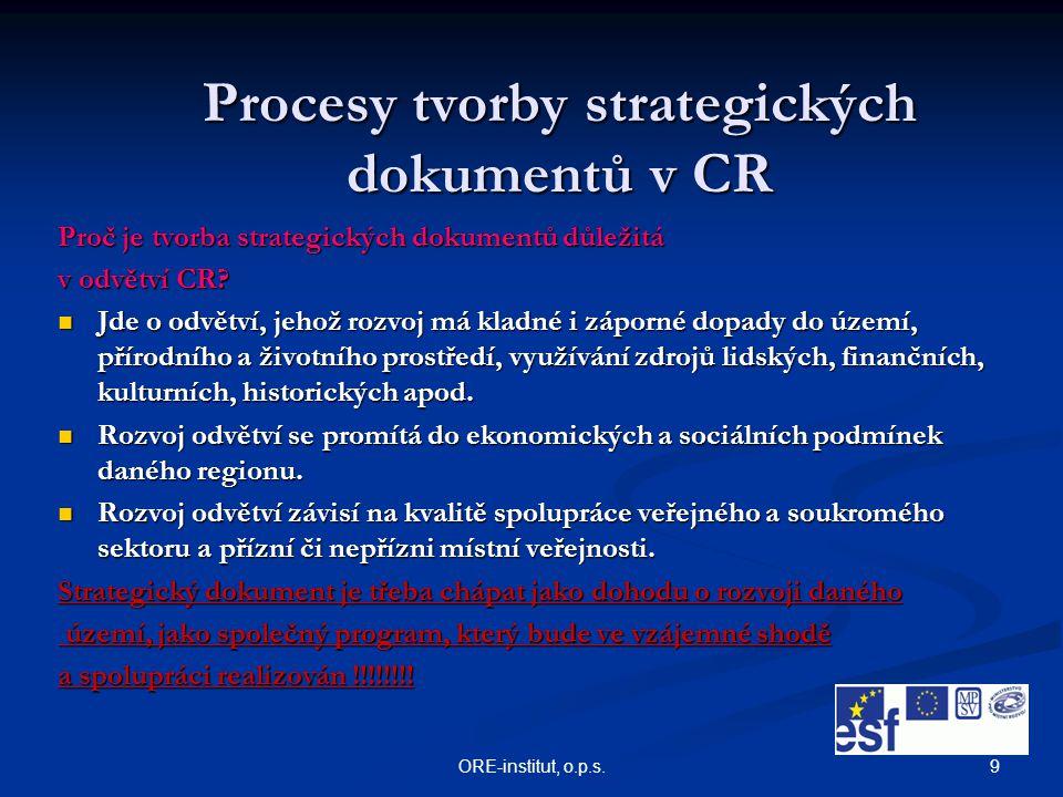 9ORE-institut, o.p.s. Procesy tvorby strategických dokumentů v CR Proč je tvorba strategických dokumentů důležitá v odvětví CR? Jde o odvětví, jehož r