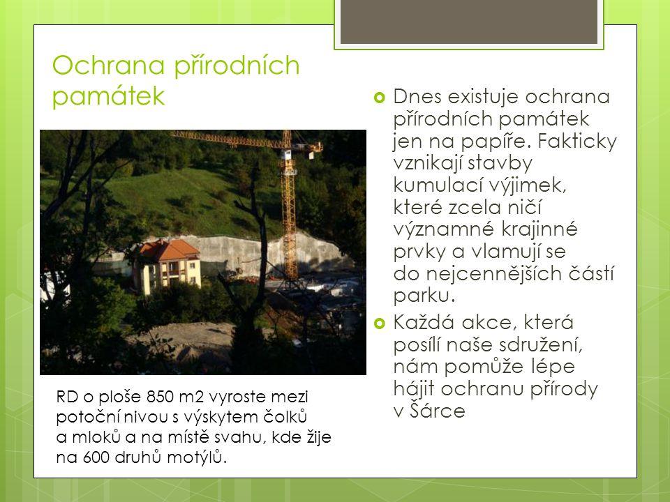 Ochrana přírodních památek  Dnes existuje ochrana přírodních památek jen na papíře.