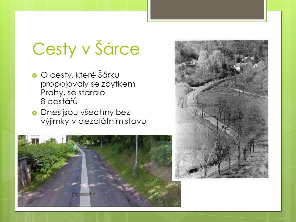 Cesty v Šárce  O cesty, které Šárku propojovaly se zbytkem Prahy, se staralo 8 cestářů  Dnes jsou všechny bez výjimky v dezolátním stavu