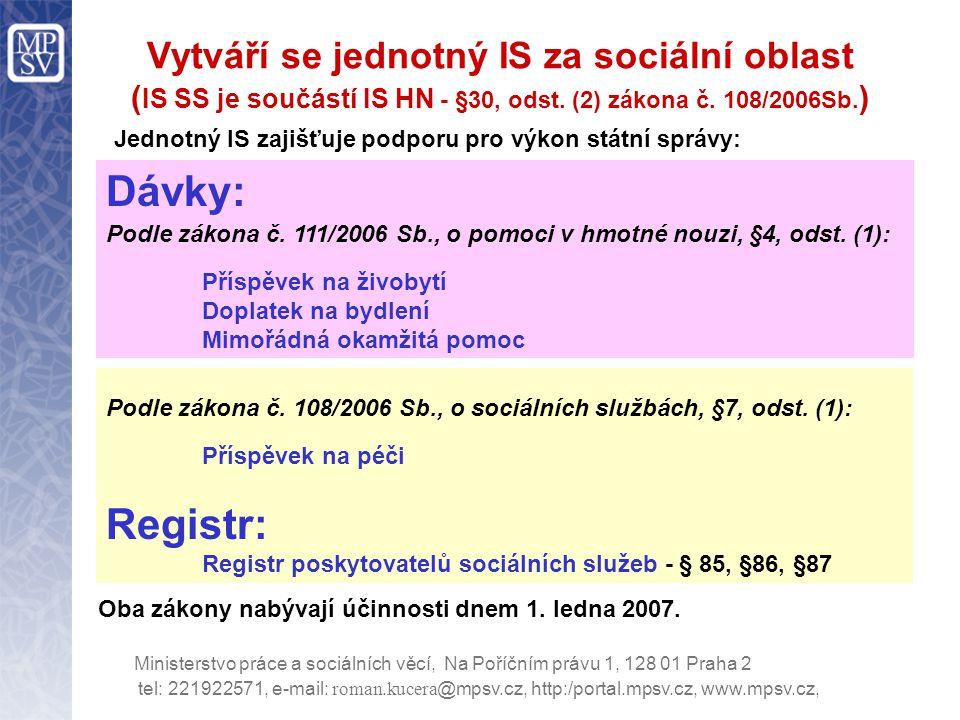 tel: 221922571, e-mail: roman.kucera @mpsv.cz, http:/portal.mpsv.cz, www.mpsv.cz, Ministerstvo práce a sociálních věcí, Na Poříčním právu 1, 128 01 Praha 2 Seminář se týká informačního zabezpečení HN a SS (tedy SW - APV, HW, komunikace) Netýká se obecně obsahu obou zákonů, např.
