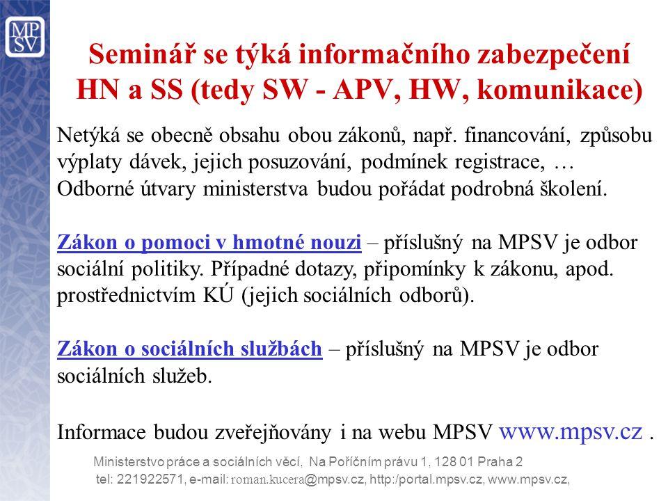tel: 221922571, e-mail: roman.kucera @mpsv.cz, http:/portal.mpsv.cz, www.mpsv.cz, Ministerstvo práce a sociálních věcí, Na Poříčním právu 1, 128 01 Praha 2 Všechny presentace z tohoto a dalších seminářů a další potřebné informace a pokyny k zavádění IS HN a SS jsou průběžně uveřejňovány na webu MPSV na adrese www.mpsv.cz/tmp/hmotna_nouze