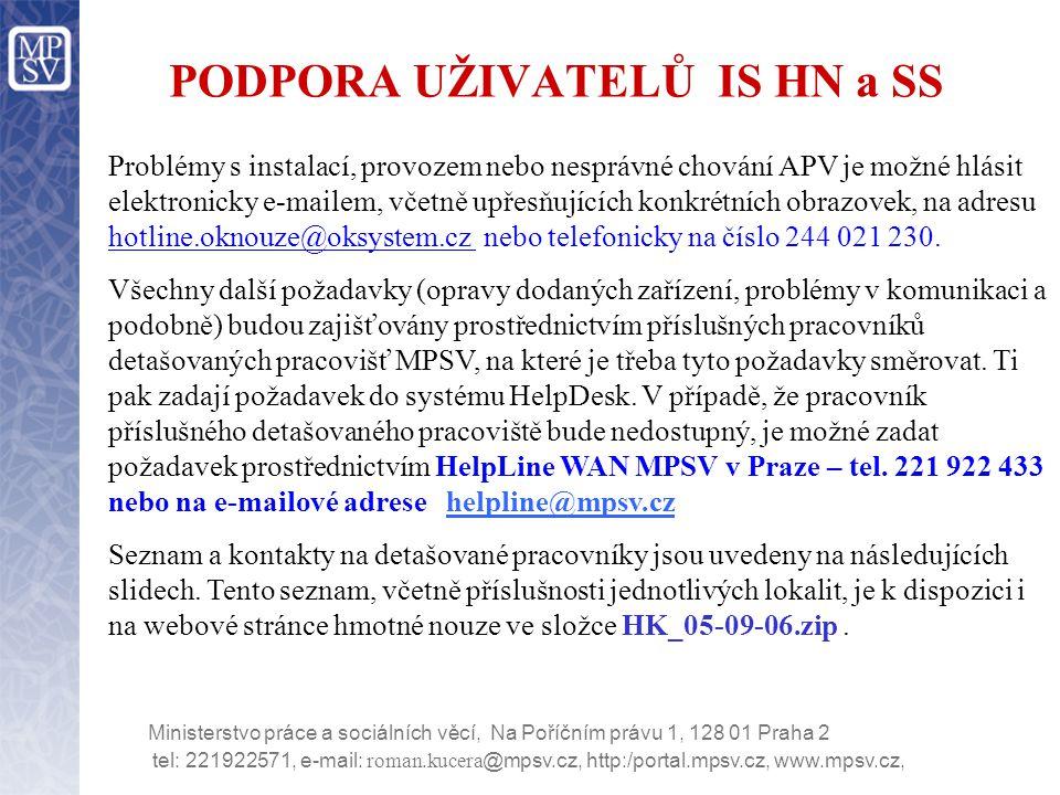 tel: 221922571, e-mail: roman.kucera @mpsv.cz, http:/portal.mpsv.cz, www.mpsv.cz, Ministerstvo práce a sociálních věcí, Na Poříčním právu 1, 128 01 Praha 2 Seznam a kontakty na detašované pracovníky Praha a kraj Středočeský Pavel Vadinský221 922 676 pavel.vadinsky@mpsv.cz Václav Mašek221 922 357vaclav.masek@mpsv.cz Kraj Jihočeský a Vysočina Ing.