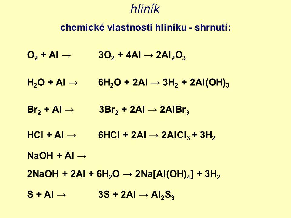 hliník chemické vlastnosti hliníku - shrnutí: O 2 + Al → H 2 O + Al → Br 2 + Al → HCl + Al → S + Al → 3O 2 + 4Al → 2Al 2 O 3 6H 2 O + 2Al → 3H 2 + 2Al