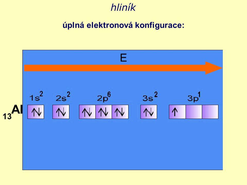 hliník úplná elektronová konfigurace: Al 13 E