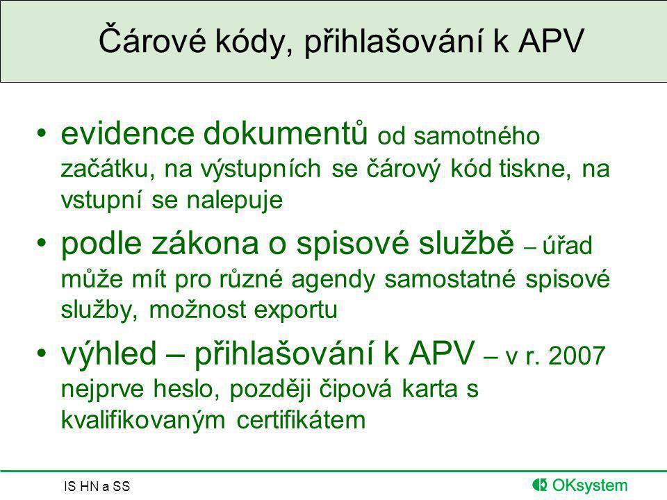 IS HN a SS Čárové kódy, přihlašování k APV evidence dokumentů od samotného začátku, na výstupních se čárový kód tiskne, na vstupní se nalepuje podle z
