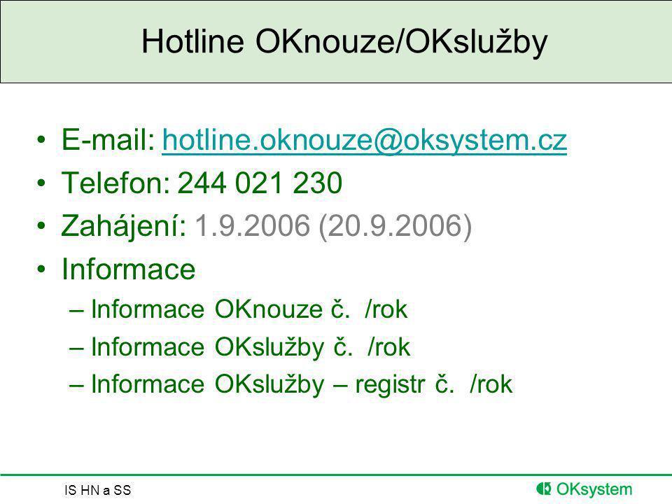IS HN a SS Hotline OKnouze/OKslužby E-mail: hotline.oknouze@oksystem.czhotline.oknouze@oksystem.cz Telefon: 244 021 230 Zahájení: 1.9.2006 (20.9.2006)