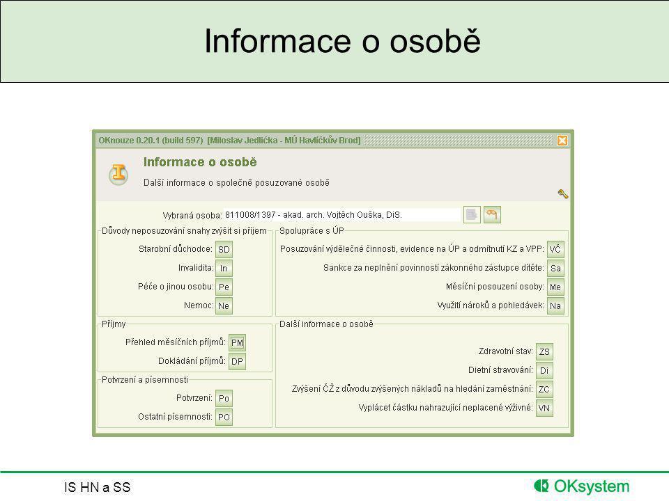 IS HN a SS Informace o osobě