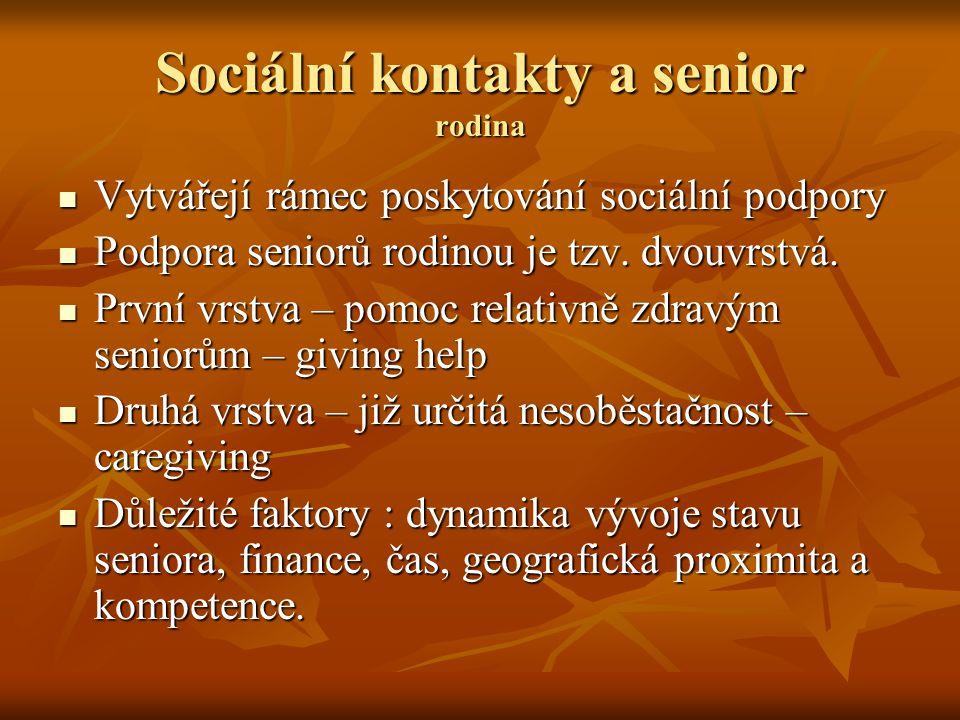 Sociální kontakty a senior rodina Vytvářejí rámec poskytování sociální podpory Vytvářejí rámec poskytování sociální podpory Podpora seniorů rodinou je
