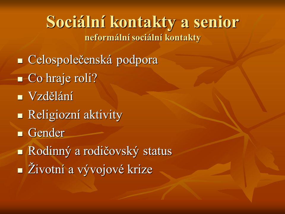 Sociální kontakty a senior neformální sociální kontakty Celospolečenská podpora Celospolečenská podpora Co hraje roli? Co hraje roli? Vzdělání Vzdělán