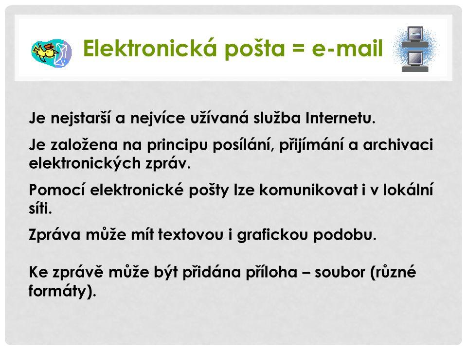 Elektronická pošta = e-mail Je nejstarší a nejvíce užívaná služba Internetu. Je založena na principu posílání, přijímání a archivaci elektronických zp