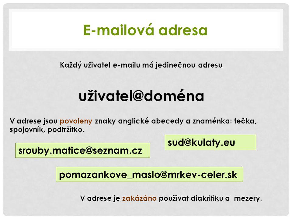 E-mailová adresa Každý uživatel e-mailu má jedinečnou adresu uživatel@doména V adrese jsou povoleny znaky anglické abecedy a znaménka: tečka, spojovní