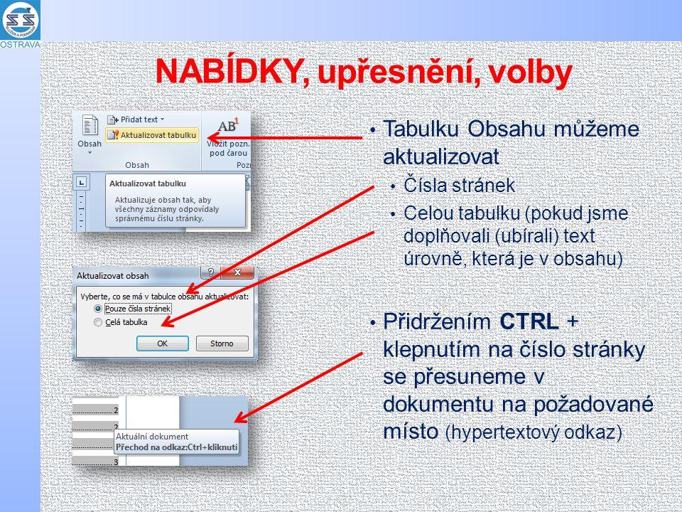 NABÍDKY, upřesnění, volby Tabulku Obsahu můžeme aktualizovat Čísla stránek Celou tabulku (pokud jsme doplňovali (ubírali) text úrovně, která je v obsa