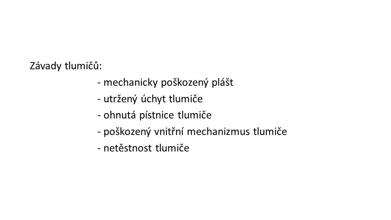 Závady tlumičů: - mechanicky poškozený plášt - utržený úchyt tlumiče - ohnutá pístnice tlumiče - poškozený vnitřní mechanizmus tlumiče - netěstnost tl