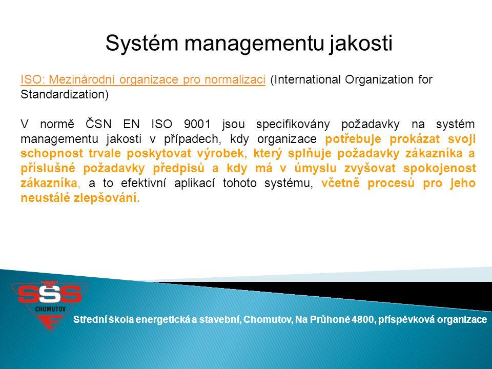 Systém managementu jakosti ISO: Mezinárodní organizace pro normalizaciISO: Mezinárodní organizace pro normalizaci (International Organization for Stan