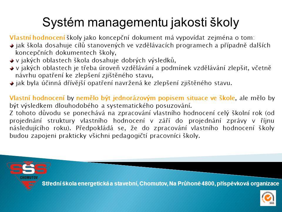Střední škola energetická a stavební, Chomutov, Na Průhoně 4800, příspěvková organizace Systém managementu jakosti školy Vlastní hodnocení školy jako