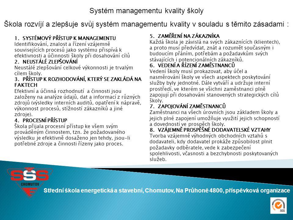 Střední škola energetická a stavební, Chomutov, Na Průhoně 4800, příspěvková organizace Systém managementu kvality školy Škola rozvíjí a zlepšuje svůj