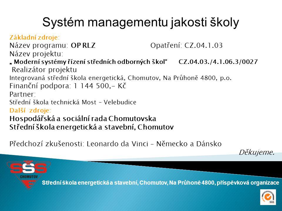 Střední škola energetická a stavební, Chomutov, Na Průhoně 4800, příspěvková organizace Systém managementu jakosti školy Základní zdroje: Název progra