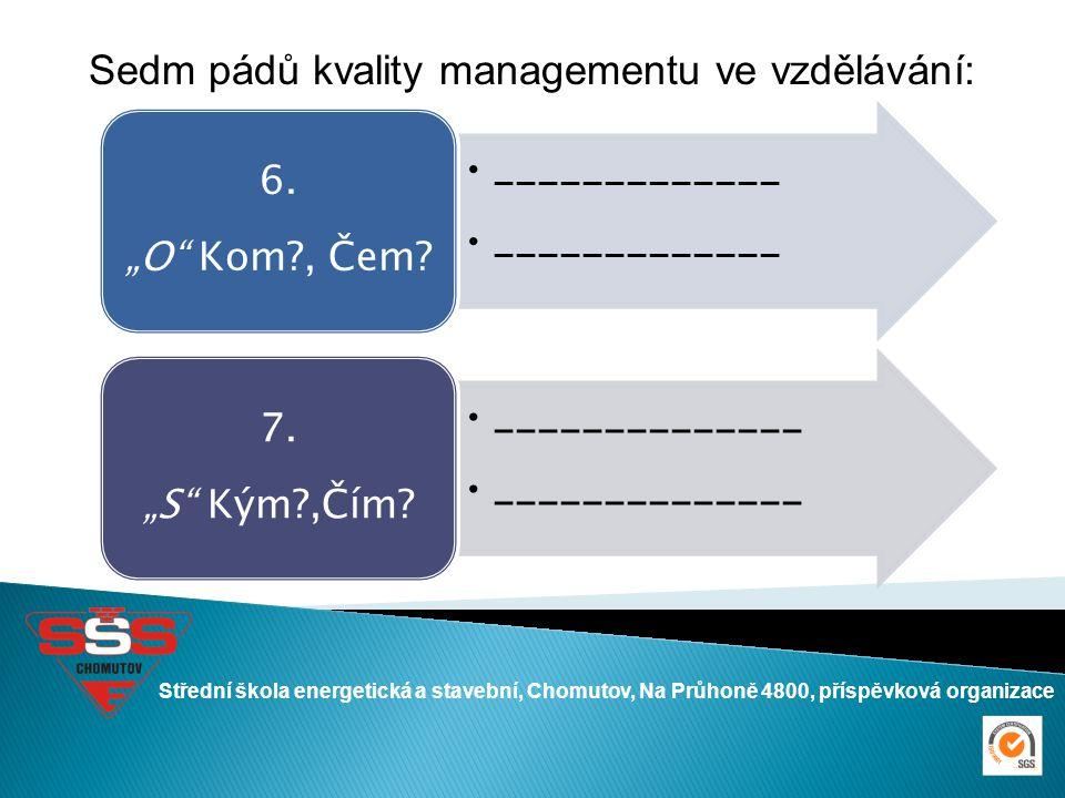 Střední škola energetická a stavební, Chomutov, Na Průhoně 4800, příspěvková organizace Sedm pádů kvality managementu ve vzdělávání: _____________ 6.