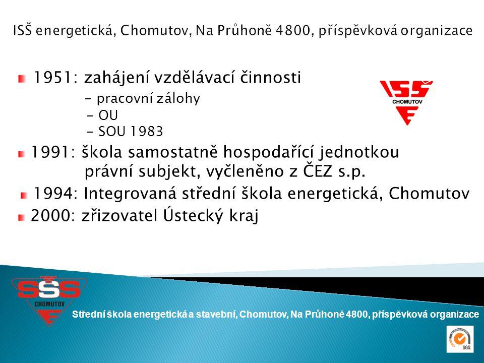 1951: zahájení vzdělávací činnosti - pracovní zálohy - OU - SOU 1983 1991: škola samostatně hospodařící jednotkou právní subjekt, vyčleněno z ČEZ s.p.