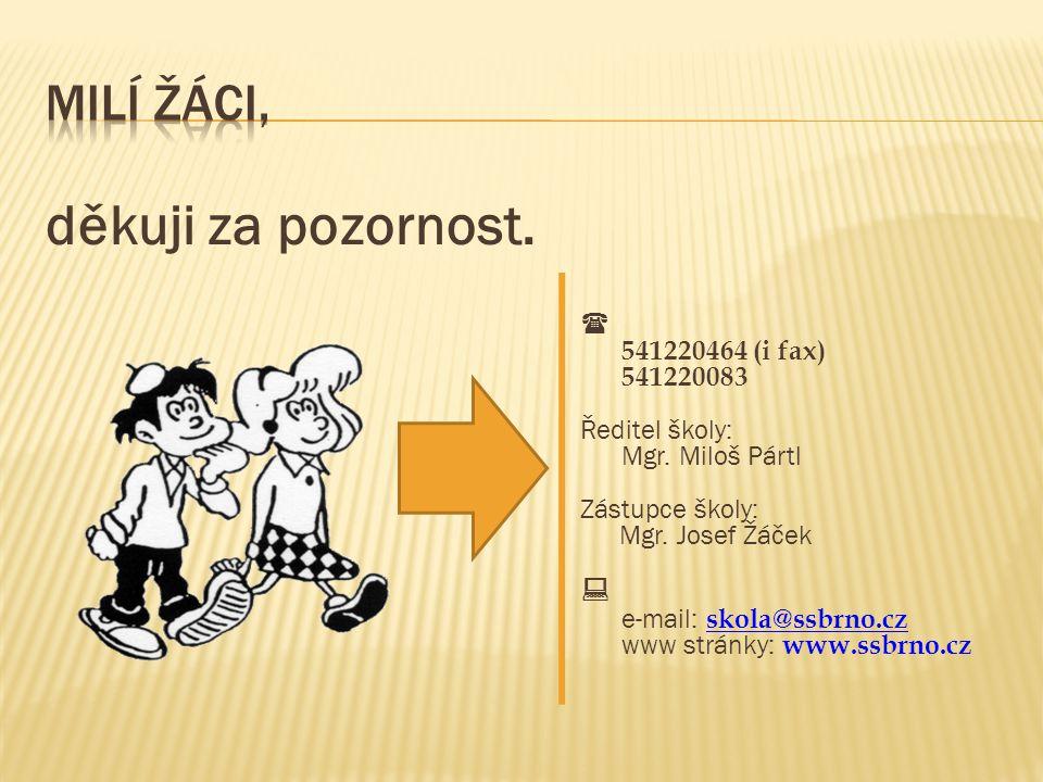 děkuji za pozornost.  541220464 (i fax) 541220083 Ředitel školy: Mgr. Miloš Pártl Zástupce školy: Mgr. Josef Žáček  e-mail: skola@ssbrno.cz www strá