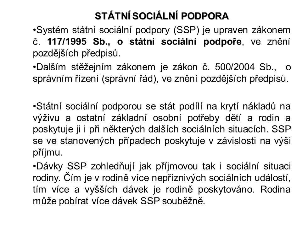 STÁTNÍ SOCIÁLNÍ PODPORA Systém státní sociální podpory (SSP) je upraven zákonem č. 117/1995 Sb., o státní sociální podpoře, ve znění pozdějších předpi