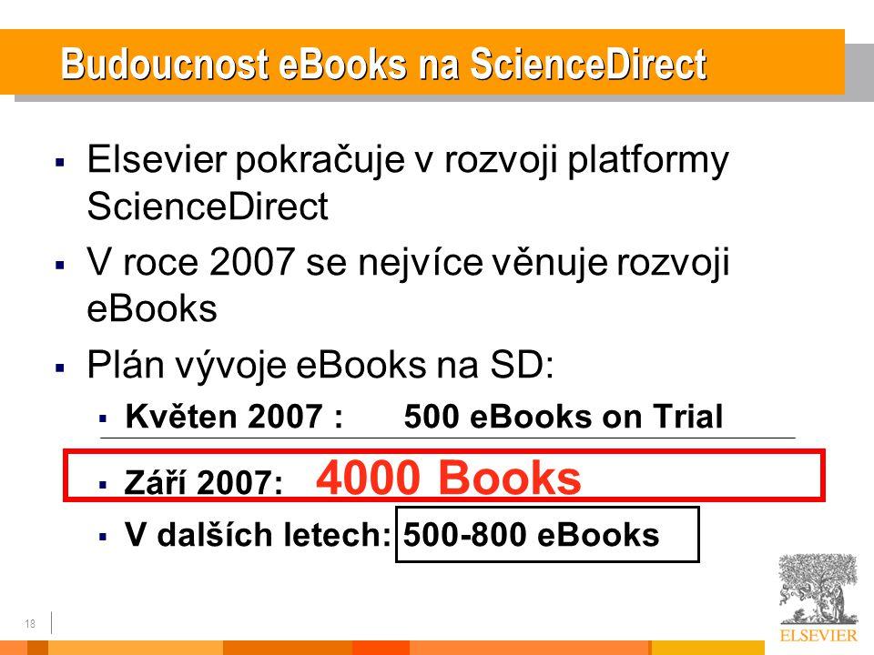 18  Elsevier pokračuje v rozvoji platformy ScienceDirect  V roce 2007 se nejvíce věnuje rozvoji eBooks  Plán vývoje eBooks na SD:  Květen 2007 : 500 eBooks on Trial  Září 2007: 4000 Books  V dalších letech: 500-800 eBooks Budoucnost eBooks na ScienceDirect